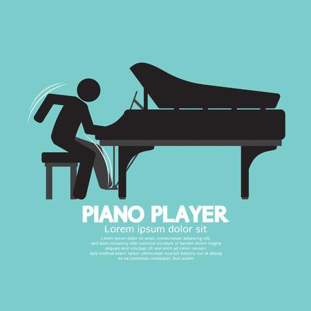 joueur de piano: Noir Symbole Player Piano illustration vectorielle