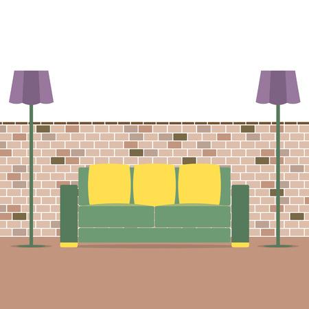 brick background: Sof� Con Illustrazione lampada moderna On Brick Background Vector