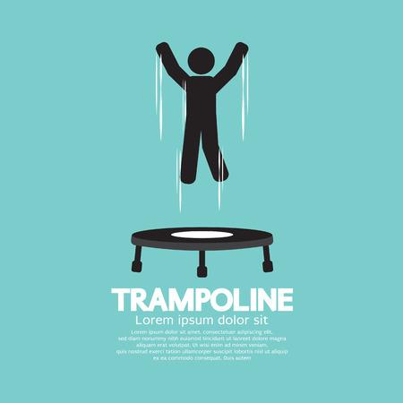jump: Black Symbol Of A Person Jumping On Trampoline Vector Illustration Illustration