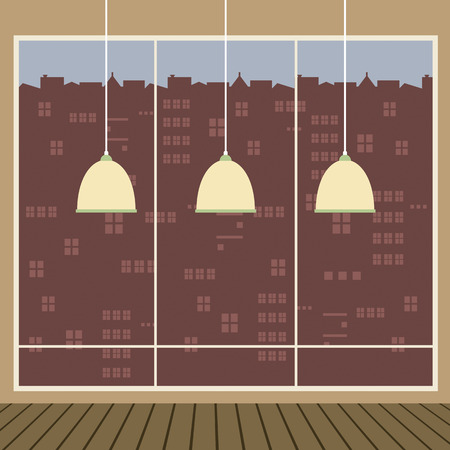 ceiling design: Modern Design Ceiling Lamps With Wide Glass Window Vector Illustration