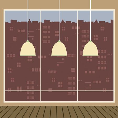 ceiling design: Modernos L�mparas de techo de dise�o con una amplia ilustraci�n vectorial Glass Window