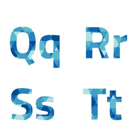 decorative letter: Modern Style Blue Alphabets Set Vector Illustration Illustration