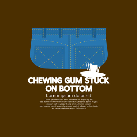 stuck: Chewing Gum Stuck On Bottom Vector Illustration