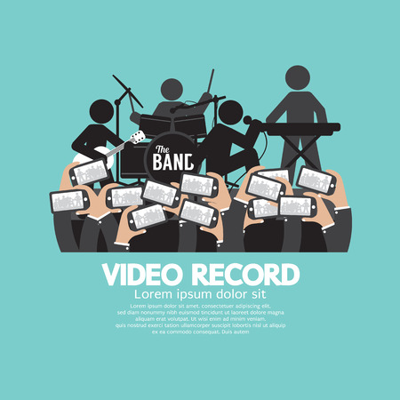 concert audience: Video Recording By Smartphone During The Show Vector Illustration Illustration