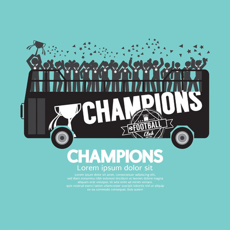Football Or Soccer Champions Celebrate On Bus