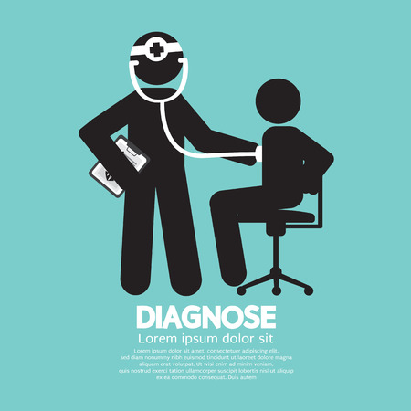 sick person: Doctor With Patient Diagnose Concept Black Symbol Vector Illustration Illustration