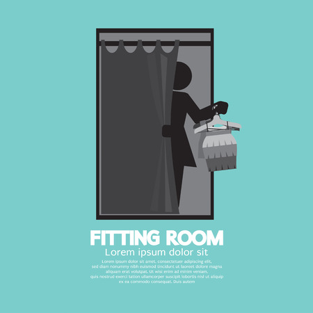 fitting room: Fitting Room Black Graphic Vector Illustration