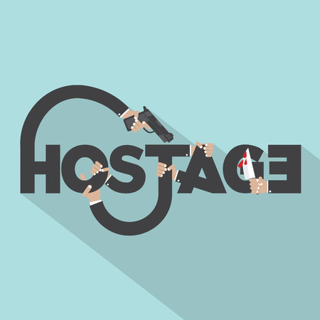 hostage: Gun And Knife In Hands With Hostage Typography Design Vector Illustration Illustration
