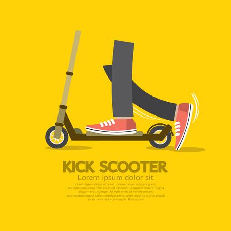 scooter: Flat Design Kick Scooter Vector Illustration Illustration