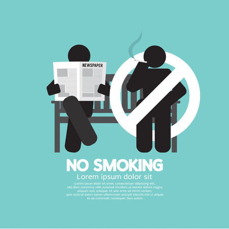 reading a newspaper: No Smoking Sign At Public Place Vector Illustration