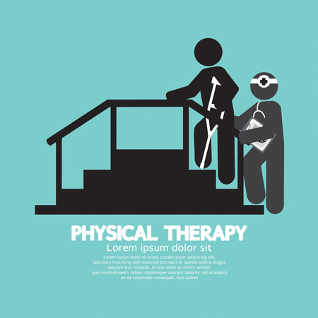 rehabilitation: Black Symbol Physical Therapy Vector Illustration