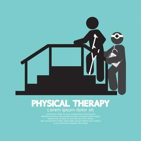 fisico: Ilustraci�n Terapia F�sica Negro S�mbolo Vector