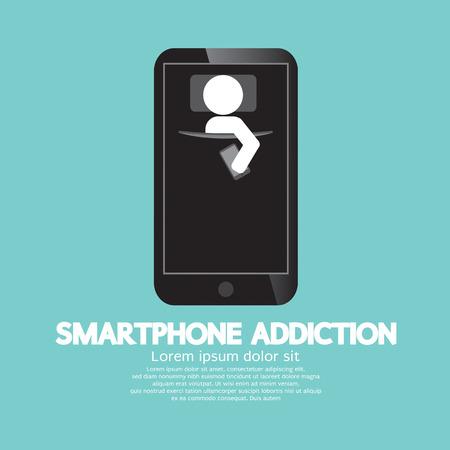 obsessed: Smartphone Addiction Concept Vector Illustration Illustration
