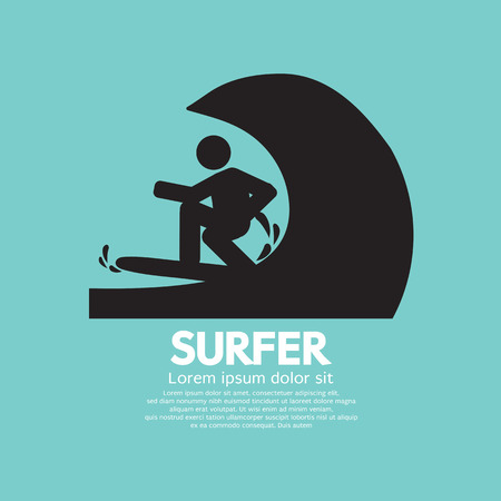 surfer vector: Black Symbol Surfer Vector Illustration