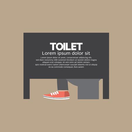 Man In A Toilet Room Vector Illustration