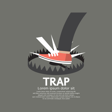 Foot Stepped On Trap Vector Illustration