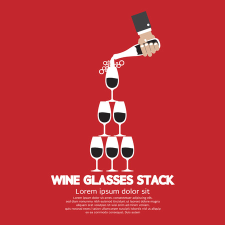 Wine Glasses Stack On Red Background Vector