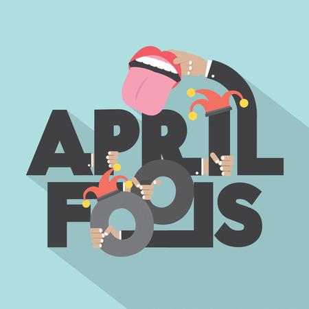 Illustrazione April Fools Typography disegno vettoriale