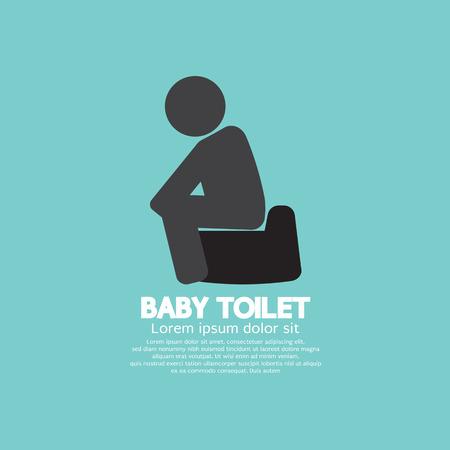 baby toilet: Black Symbol Baby Toilet Vector Illustration