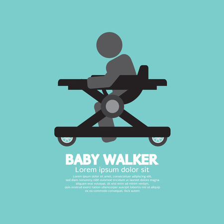 walker: Black  Symbol Baby Walker Vector Illustration