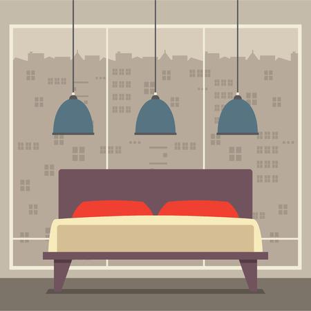 ceiling design: Dise�o plana Habitaci�n doble Ilustraci�n Vector