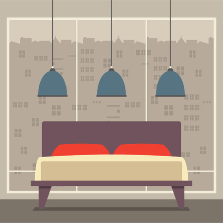 Flat Design Double  Bedroom Vector Illustration