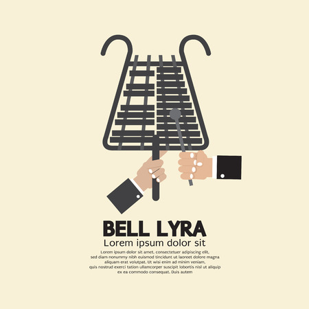 arts culture and entertainment: Flat Design Bell Lyra With Hands Vector Illustration Illustration