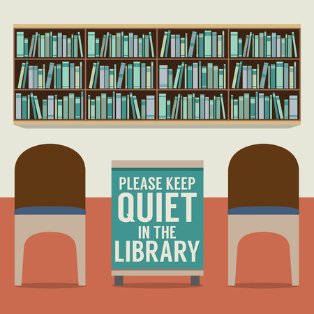 quiet room: Reading Seats In Front Of A Bookcase With Forbidden Poster