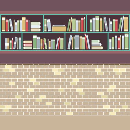 bookcases: Vintage Style BookShelf On Brick Wall Vector Illustration