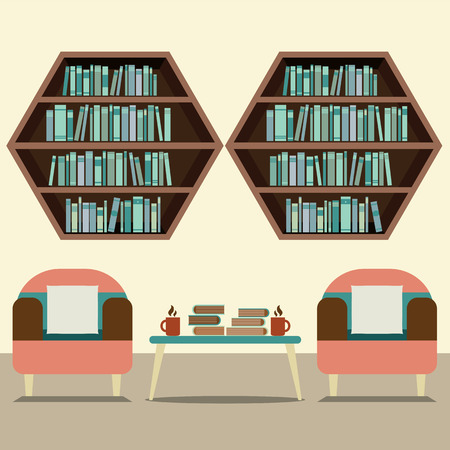 hot seat: Two Sofas With Hexagon Bookshelves Vector Illustration