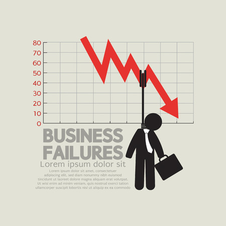 failures: Hangman With Decrease Graph Business Failures Concept Illustration