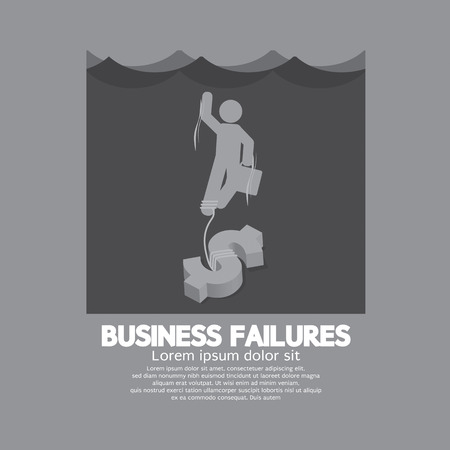 failures: Businessman Drowning In The Water Business Failures Concept
