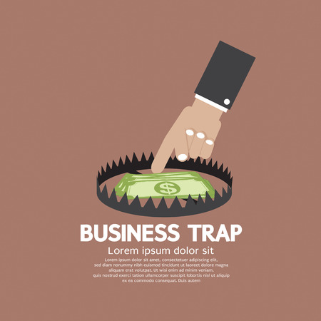 mouse trap: Hand With Banknote Business Trap Concept Vector Illustration