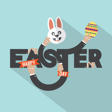 Rabbit, Egg In Hand Easter Typography Design Vector Illustration Illustration