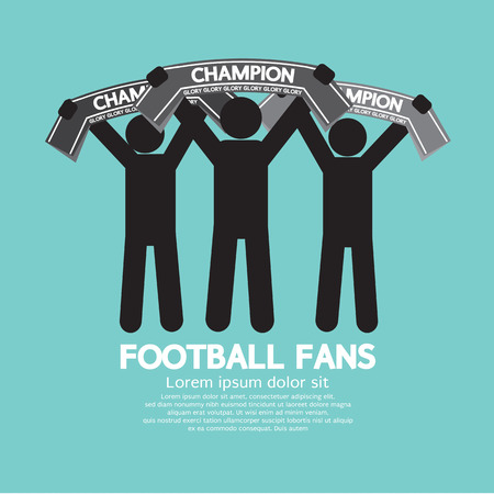 football fan: Football Fans With Champion Scarves Vector Illustration