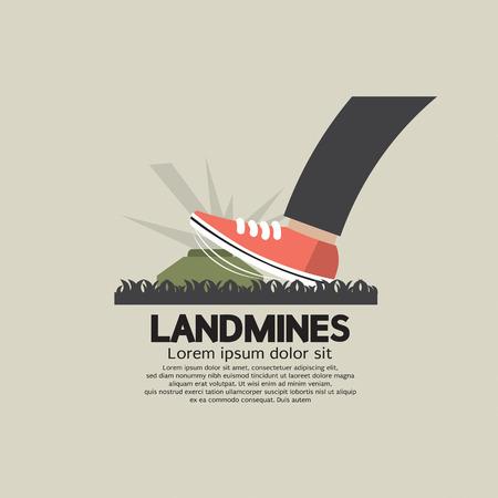 land mine: Foot Step On Landmines Vector Illustration