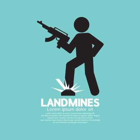 resistant: Black Symbol Of A Soldier Step On Landmines Vector Illustration Illustration