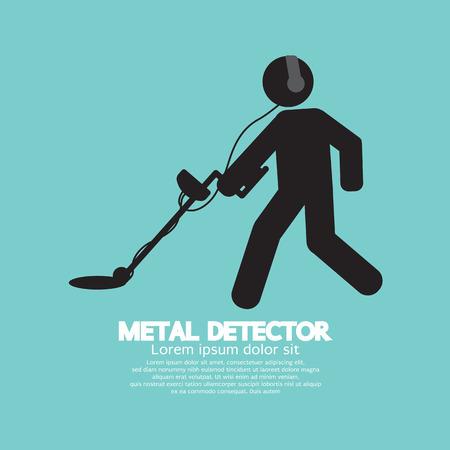 gold mine: Metal Detector Black Graphic Symbol Vector Illustration Illustration