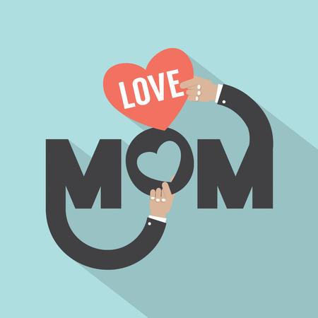 Love Mom Typography Design Vector Illustration