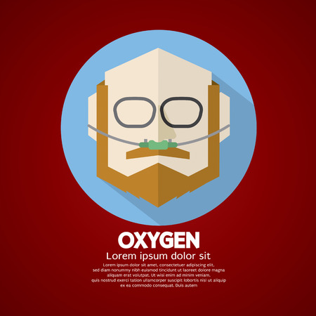 obstructive: Elderly Patient With Respiratory Oxygen Nasal Catheter Vector Illustration