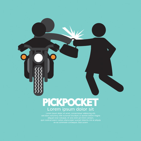 pickpocket: Pickpocket On Motorcycle With The Victim Vector Illustration
