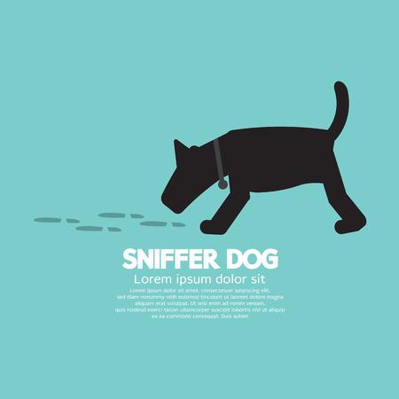 sniffer: Sniffer Dog Smell Footprint On Ground Vector Illustration Illustration