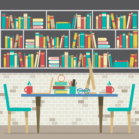 bookcase: Modern Flat Design Workplace With Bookcase Vector Illustration