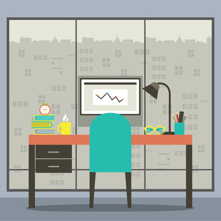 Modern Flat Design Workplace With Skyscraper View Vector Illustration Illustration
