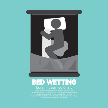 wetting: Bed-Wetting Black Graphic Symbol Vector Illustration