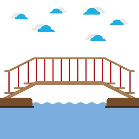 bridge over water: Wooden Bridge Over The River Vector Illustration