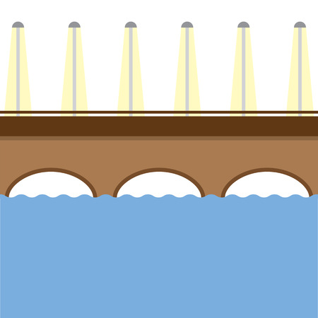 bridge over water: Brown Bridge Over The River Vector Illustration Illustration