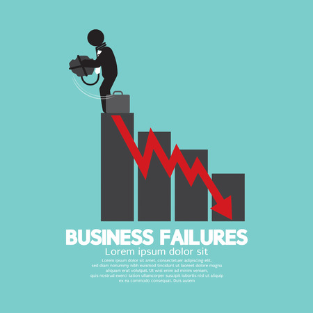 failures: Hopeless Man With Business Failures Concept Vector Illustration Illustration