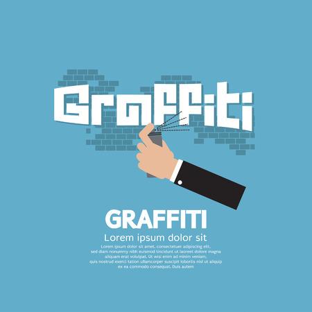 spraying: Hand Spraying Graffiti On Wall Vector Illustration
