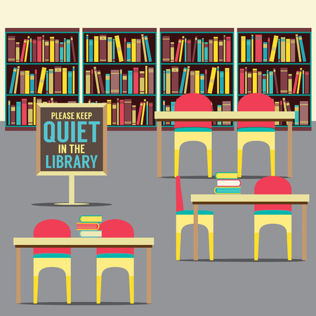 library book: In The Library With Forbidden Poster Vector Illustration Illustration
